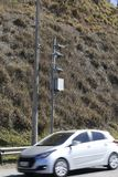 Traffic Speed Camera. Police radar. Speed control radar camera at countryside road highway in Sao Paulo state, Brazil Royalty Free Stock Images