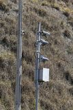 Traffic Speed Camera. Police radar. Speed control radar camera at countryside road highway in Sao Paulo state, Brazil Stock Photos
