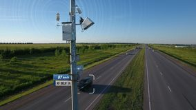 Traffic speed radar tracking control illustration with infographic automobile car automatic speed detection and send