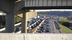 Traffic standstill on I-75 through Dayton, OH Royalty Free Stock Images