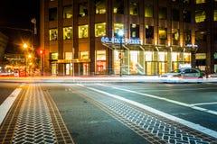 Traffic on State Street at night in Boston, Massachusetts. Stock Images