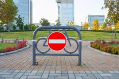 The Traffic  stop Bicycle in to park image. Royalty Free Stock Images