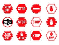 Traffic stop, restricted and dangerous  signs isolated. Illustration of traffic road and stop symbol, warning and attention Stock Photography