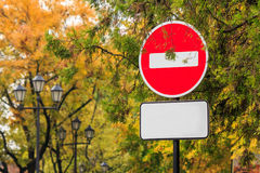 Traffic stop sign on autumn background. Royalty Free Stock Images