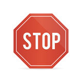 Traffic stop sign on a white background with shadow Royalty Free Stock Photos