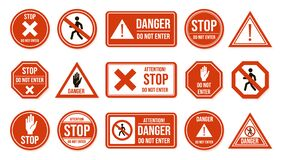 Free Traffic Stop Signs. Do Not Enter, Warning Traffic Road Sign. Stop, No Admittance, Prohibitory Character Street Driving Royalty Free Stock Photo - 172381695