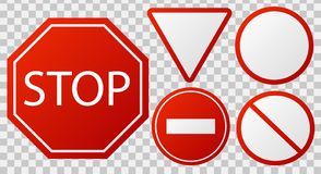 Traffic stop signs. Red police restricted road sign to enter stop danger isolated vector icon set stock illustration