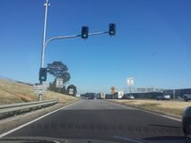 Traffic stops before merging Stock Photo