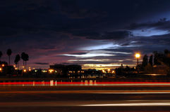 Traffic Streaks at Sunset Stock Image