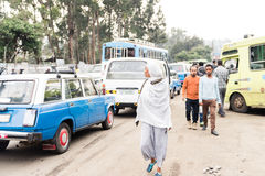 Traffic in the street of Addis Ababa, ethiopia Royalty Free Stock Photos