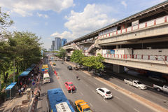 Traffic on the street around Moh Chit BTS station. BANGKOK, THAILAND -July 24, 2015. Traffic on the street around Moh Chit BTS station on March 11, 2015. Mo Stock Image