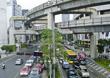 Traffic on the street of Bangkok city in Thailand. Stock Photo