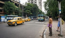 Traffic on street at downtown in Kolkata, India Stock Photo