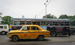 Traffic on street at downtown in Kolkata, India Stock Photography