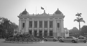 Traffic on the street in front of Hanoi Opera house Stock Photo