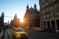 Traffic on the street in the historic centre of Budapest. Royalty Free Stock Image