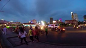 Traffic on the street of Ho Chi Minh City at night stock video