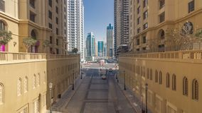A view of traffic on the street at Jumeirah Beach Residence and Dubai marina timelapse, United Arab Emirates. Traffic on the street at Jumeirah Beach Residence stock video