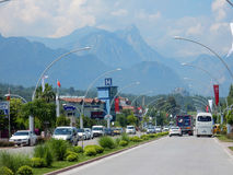 Traffic on the street in Kemer Stock Photography