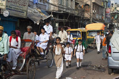 Traffic on street in Old Delhi Stock Photo