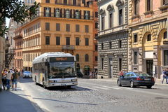 Traffic by street Via IV Novembre in Rome, Italy Stock Image