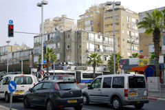 Traffic on the streets in Bat-Yam, Israel. ISRAEL, BAT-YAM, MARCH 21: day traffic on the streets in Bat-Yam Royalty Free Stock Photography