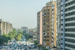 Traffic on the streets of Cairo. The chaotic movement of cars under the scorching sun. Cairo is the largest city in Africa with an agglomeration of about 18 royalty free stock photos