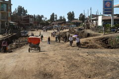 The traffic in the streets of Debark in Ethiopia Royalty Free Stock Photography