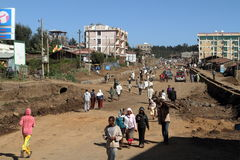 The traffic in the streets of Debark in Ethiopia Royalty Free Stock Photo