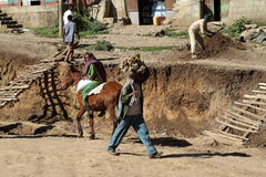 The traffic in the streets of Debark in Ethiopia Royalty Free Stock Images