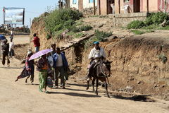 The traffic in the streets of Debark in Ethiopia Stock Images
