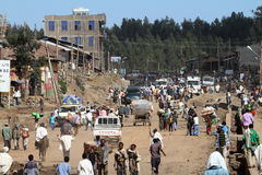 The traffic in the streets of Debark in Ethiopia Royalty Free Stock Image