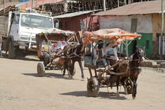The traffic in the streets of Debark in Ethiopia Stock Photo