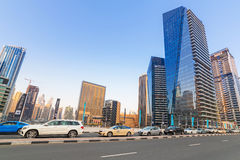 Traffic on the streets of Dubai Marina Stock Images