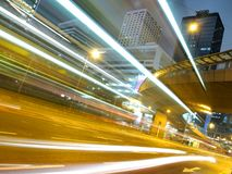 Traffic Strips in the City at Night. Modern city traffic at night in Hong Kong Royalty Free Stock Photo
