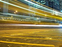 Traffic Strips in the City at Night. This is the beautiful traffic strips in Hong Kong commercial district at night Stock Photography