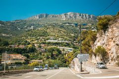 Traffic on in suburbs of city of Cap-d'Ail, France. Cap-d'Ail, France - June 28, 2015: Traffic on in suburbs of city Royalty Free Stock Photography