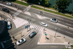 Traffic during sunny summer day on the boulevard Royalty Free Stock Photography