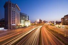 Traffic on sunset Stock Photography