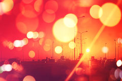 Traffic in sunset Stock Photos