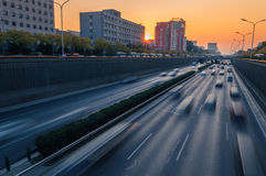 Traffic at sunset Royalty Free Stock Images