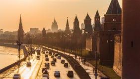 Traffic at sunset near Kremlin stock images