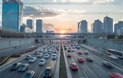 sunset traffic in beijing Royalty Free Stock Photo