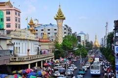 Yangon traffic, Myanmar royalty free stock photos