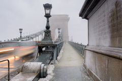 Traffic at Szechenyi bridge in Budapest stock photography