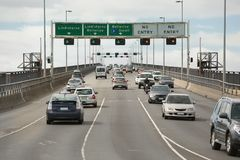 Traffic on Tasman Bridge, Hobart Royalty Free Stock Photography