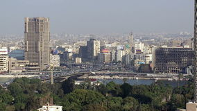 Traffic on 6th October Bridge, Cairo, Egypt stock video footage
