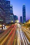 Traffic though downtown in Hong Kong Stock Photo