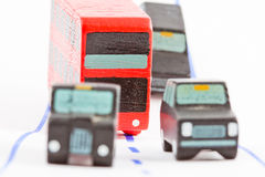 Traffic: three car and one bus (focus only on bus). Traffic: three car and one bus - focus only on bus stock photos