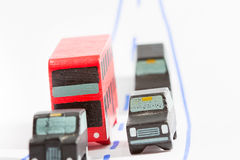 Traffic: three car and one bus (focus on bus and car). Traffic: three car and one bus, focus on bus and car Royalty Free Stock Photo